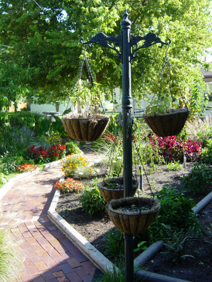 rose walk with hanging pots